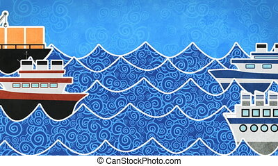 ships in the sea loopable animation
