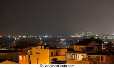ships in the Strait of Bosporus Istanbul Turkey night timelapse