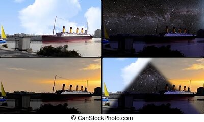 ships in waterfront at all times
