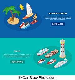 Ships Isometric Banners