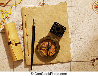 Ship's journal and compass