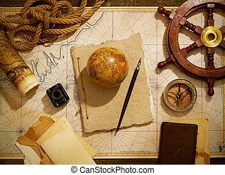 Marine equipment over old map from XVIII century