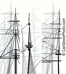 Ship's masts and sailyards.