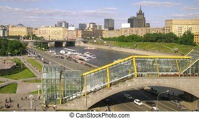 Ships moor to quay near Kiyevsky Bridge in Moscow, time lapse