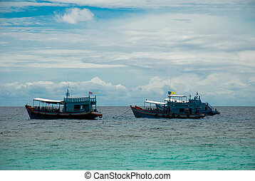 Ships moored in the sea