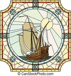 ships., mosaïque, voile