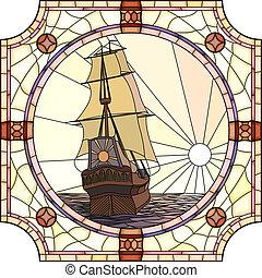ships., mosaico, velejando