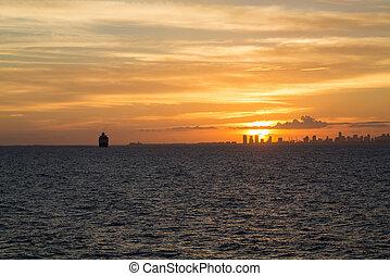 Ships Near Miami Sunset