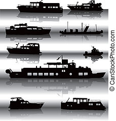 Ships - Nine different ship silhouettes situated on water...