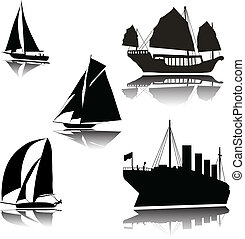 Ships of various vector silhouettes