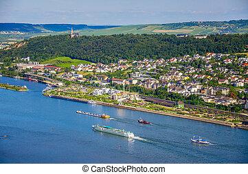 Ships on Rhine river near Bingen am Rhein, Rheinland-Pfalz, Germ