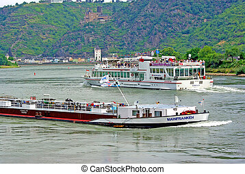 Ships on Rhine river - RHINE, GERMANY - AUGUST 1: Ships on...