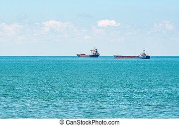 Ships on the horizon of the Black Sea