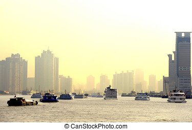 Ships  on the Huangpu River in Shanghai,China
