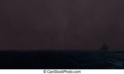 Ships on the ocean Stormy Sea at Night with Rain