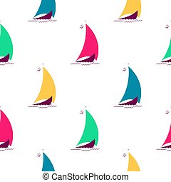 Ships on the waves in the sea seamless pattern. Nautical background with multicolored sailing boats