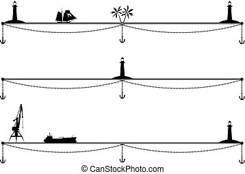 ships, palm , lighthouse and anchor
