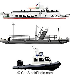 Passenger ship, small ferry boat and coast guards motor pontoon. Vector color illustration on white background.