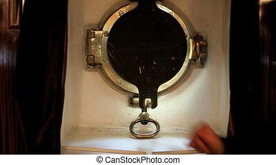 ship's porthole - old ship, a brass porthole