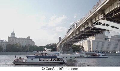 Ships sail under the bridge - Three ships sail under the...