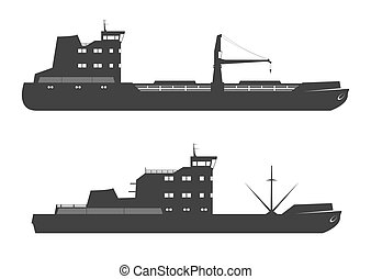 Ships silhouettes. Vector illustration.