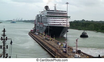 Ships waiting in front Gatun Lock (Panama Canal)