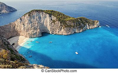 Shipwrech at Navagio beach, Zakinthos, Zante, Zakynthos -...