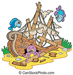 Shipwreck at sea bottom - vector illustration.