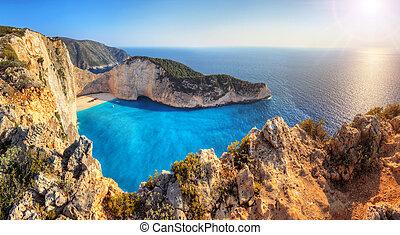 Shipwreck beach - Beautiful panorama of Navagio or Shipwreck...
