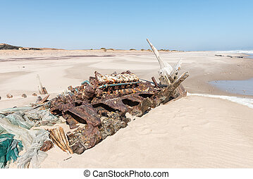 Shipwreck Benguela Eagle, which ran aground in 1973 - The...
