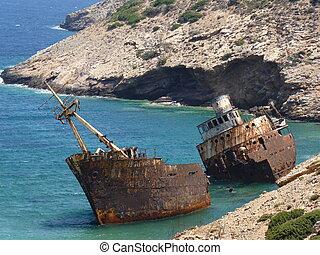 Shipwreck in Amorgos, Cyclades, Greece