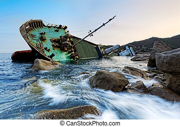 shipwreck in hong kong , seascape sunset
