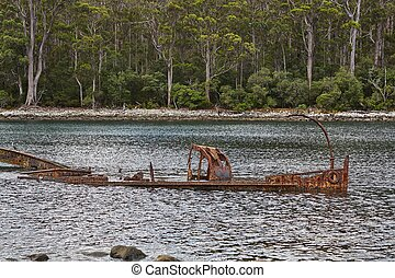 Shipwreck in the water