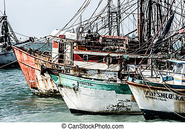 Shipwreck of the harbor in Mexico