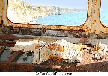 Shipwreck. Old logbook in rusty damaged ship