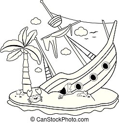 Shipwreck on an island. Black and white coloring book page -...