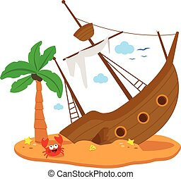 Shipwreck on an island. Vector illustration - A broken ship...