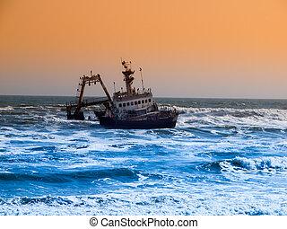 Shipwreck on Skeleton Coast in Namibia