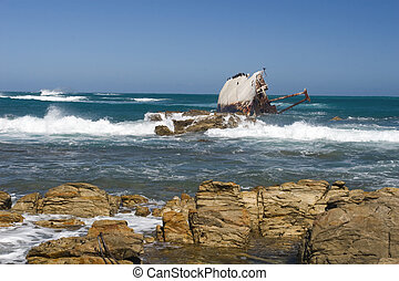 Shipwreck on the coast near Stilbaai, South Africa