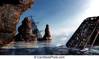 Shipwreck on the rocks - Two pirate ships, wrecked along the...