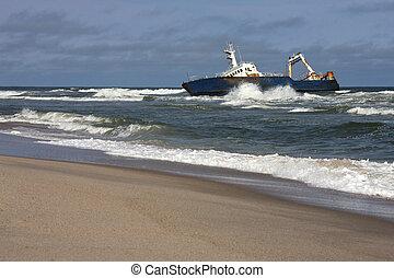Shipwreck on the Skeleton Coast in Namiba