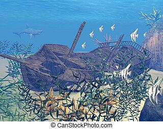 Shipwreck underwater - 3D render - Shipwreck underwater...