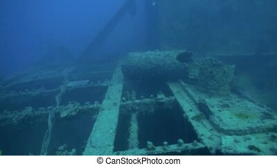 Shipwreck underwater in Red Sea Egypt. Ghost ship background...