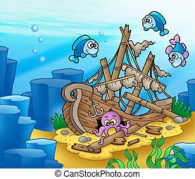 Shipwreck with octopus and fishes - color illustration.