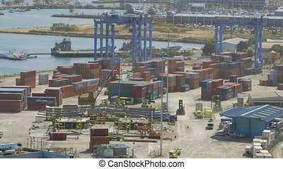 Shipyard at Bay - Steady, aerial, wide shot of an active ...
