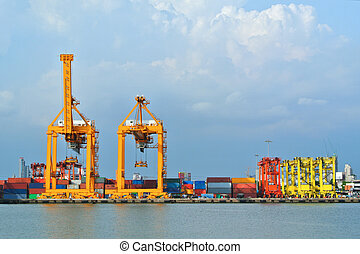 Shipyard Cargo Logistic - Container stacks and crane bridge...