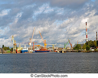 Big cranes in shipyard Gdansk, Poland.