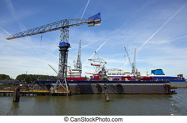 shipyard in the harbour of rotterdam