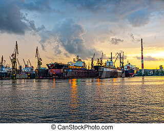 Shipyard of Gdansk at sunset, Poland.
