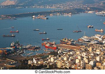 View of shipyards in Perama, Piraeus, Athens.